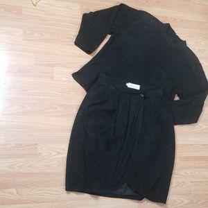 LANNA vintage 2 piece Black Leather Suit.